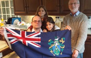 Presentation of Pitcairn flag to Brushford Christian's_adj