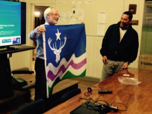 RI presenting Shawn Christian, Mayor of Pitcairn Island, with the Exmoor flag_04Sep15_3